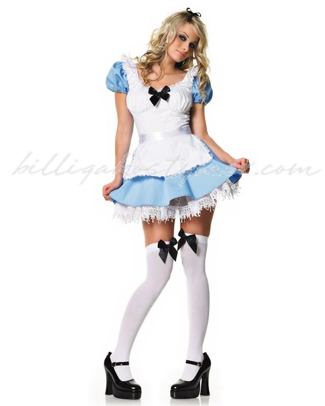 Blå och Vit Alice I Underlandet Kostym