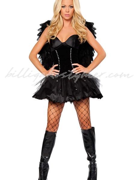 Vuxen Sexiga svart korsett mörk Ängel Kostym