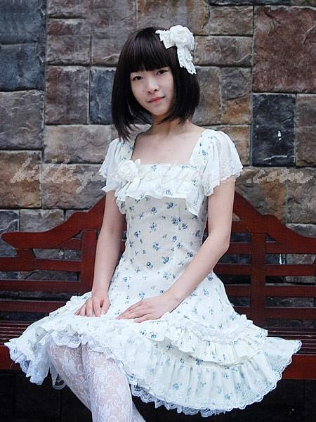 Blå och vita jacquard spets söta lolita klänningar