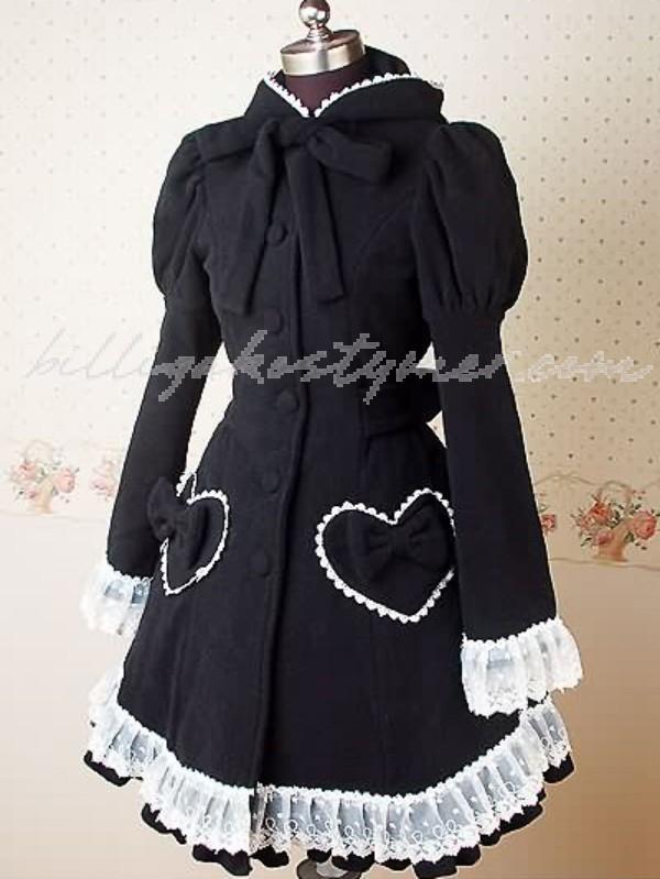 Bomull svart långa ärmar böja Lolita klänning