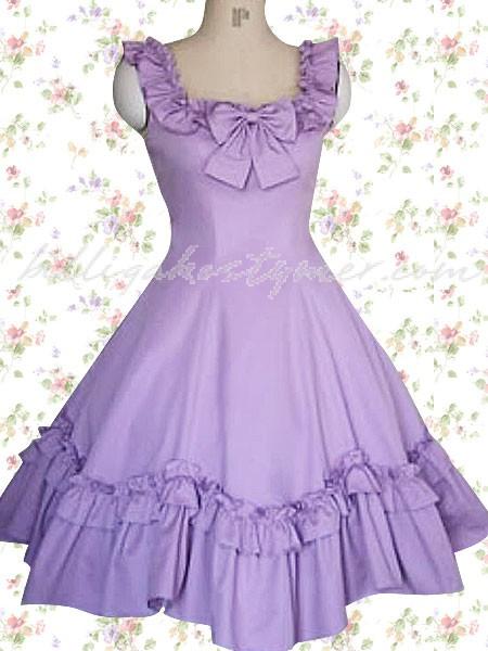 En lila volang ärmlösa klassiska lolita klänningar