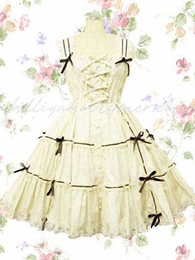 Ärmlös ruggig rosett klassiska lolita klänningar