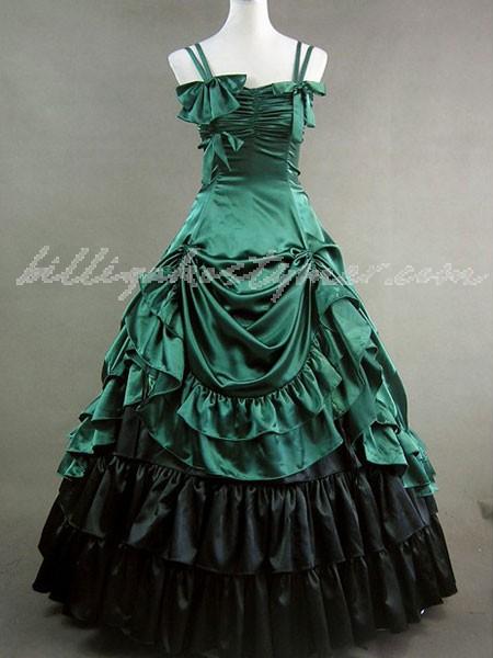 Gothic lolita rokoko renässans grön buga långa klänningar