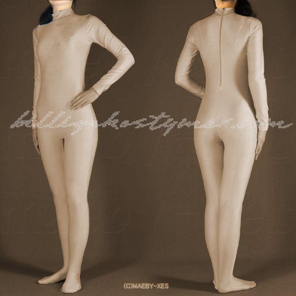 Köttfärgad huvudlös Lycra All-inclusive Zentai Kostymer