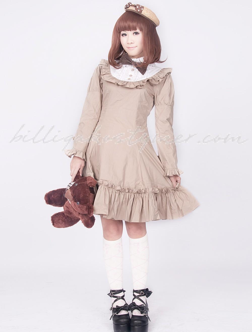 Djupa khaki långa ärmar veck klassiska lolita klänningar