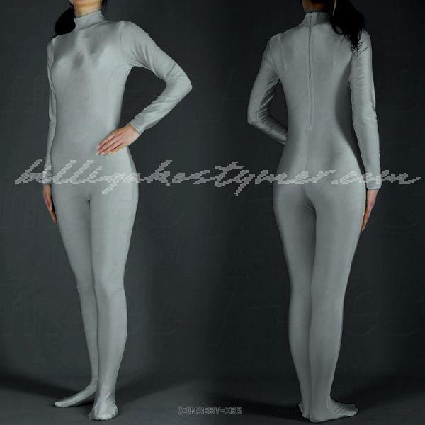 Silver huvudlös Lycra All-inclusive Zentai Kostymer