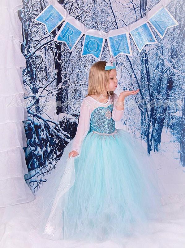 Flickor Frusna Klassiska Prinsess Elsa Klänning