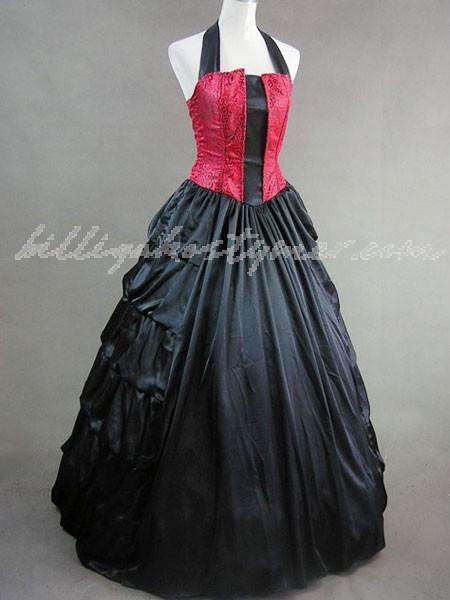 Gothic lolita renässans viktorianska röda grimman långa klänningar