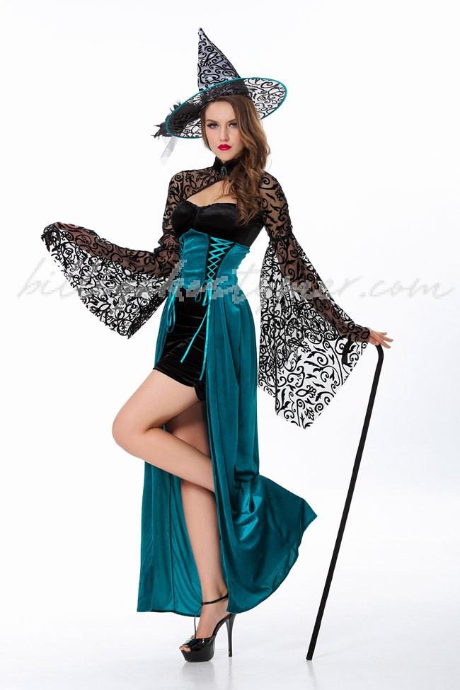 Eleganta Halloween Häxadräkt Svart