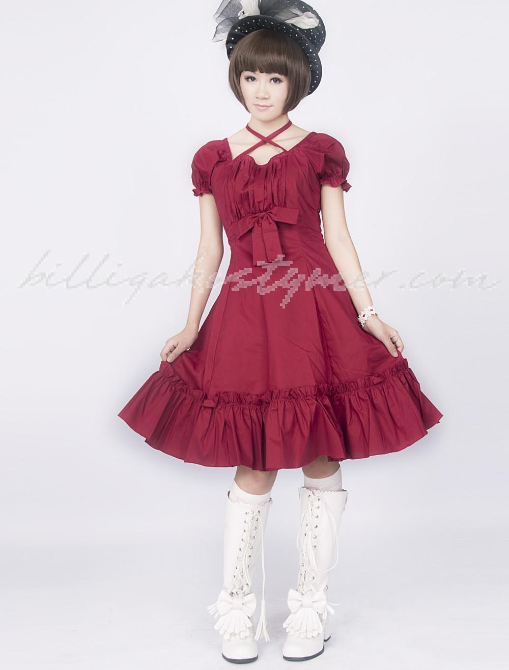 Fuchsia röd volang klassiska lolita klänningar