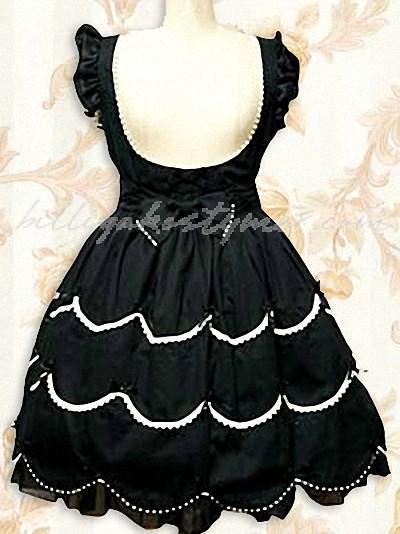 Svart tackade klassiska spets klänning