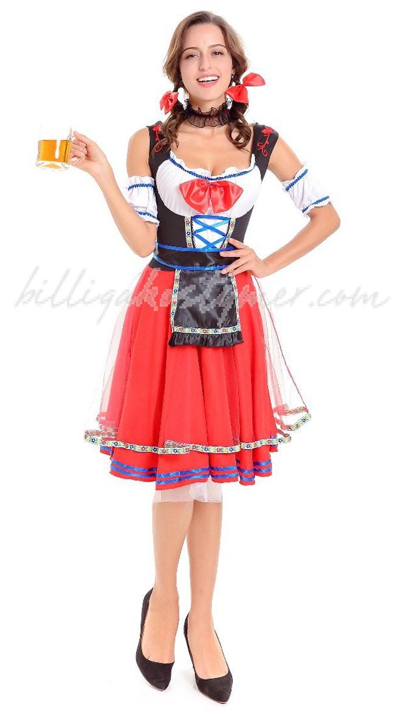 Bayerska Oktoberfest Kostym Röd
