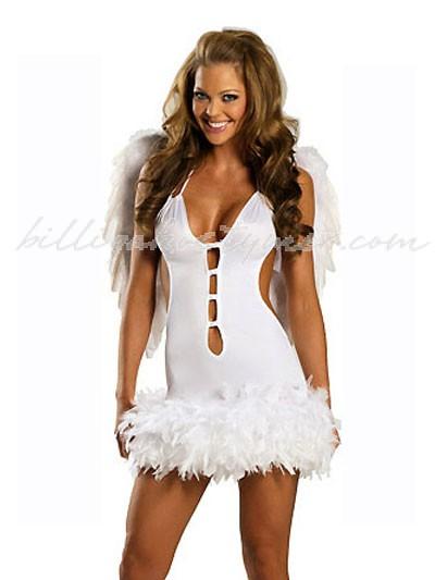 Sexiga vit Ängel Kostym med befjädrade vingar