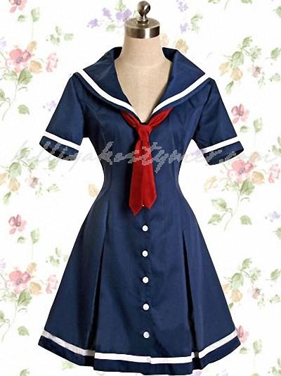 Djupblå klassiska lolita klänningar