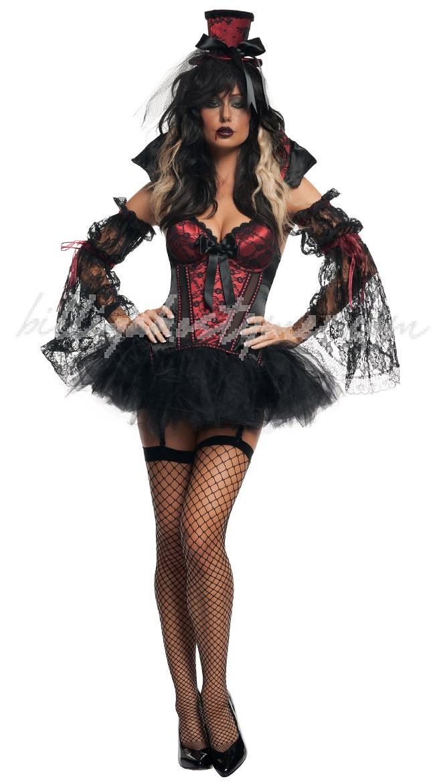 Gotisk Korsett Halloween Vampir Kostym