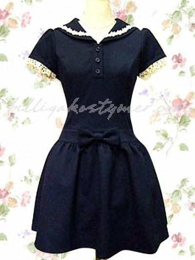 Djupblå spets rosett skolan lolita klänning