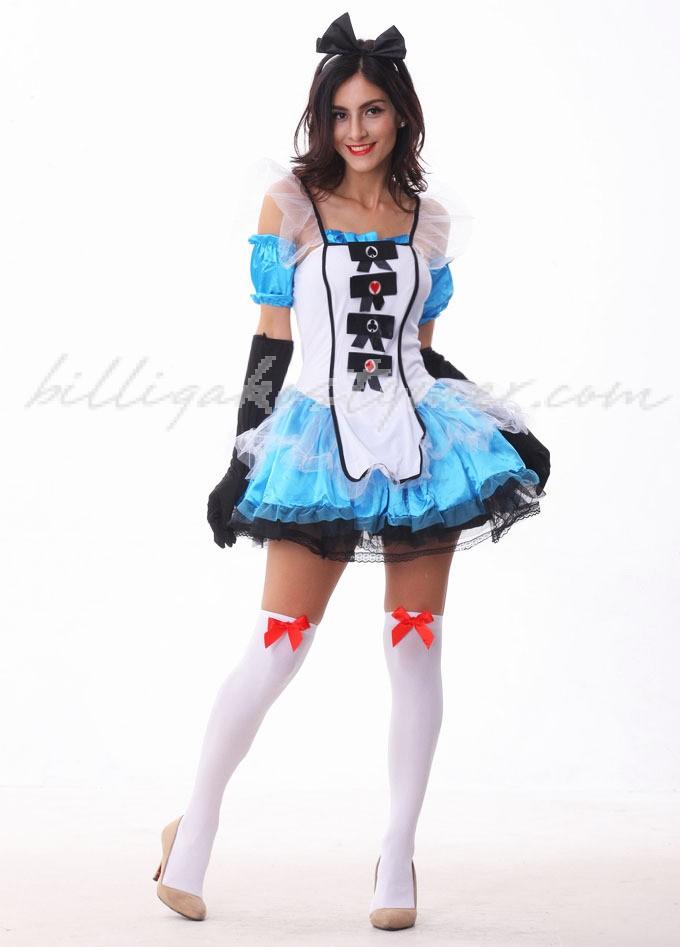 Blå Lyxiga Fantasy Alice i Underlandet Kostym