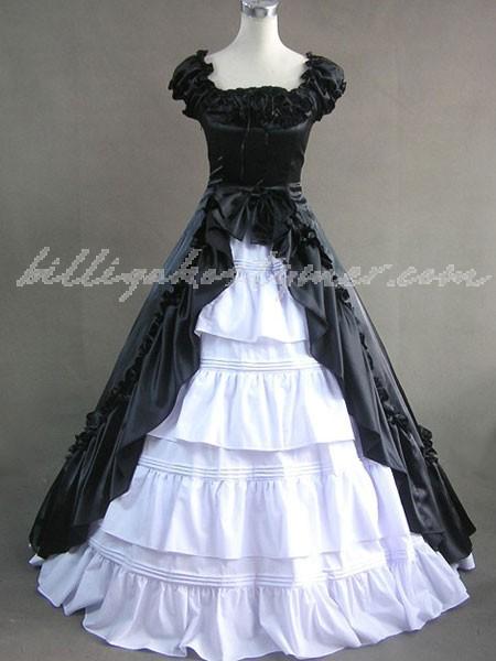 Eleganta gothic lolita victorian aristokrat långa klänning