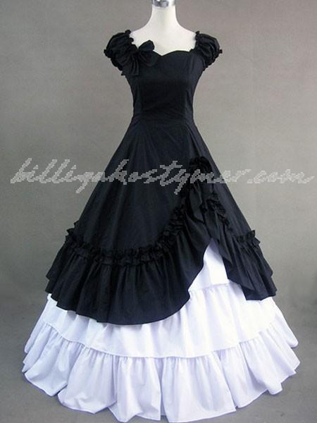 Gothic lolita viktorianska svart och vitt långa klänning