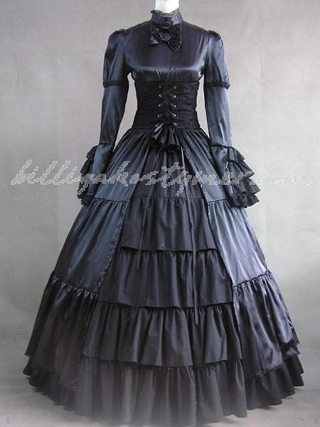 Eleganta gothic lolita victorian aristokrat svart långa klänningar