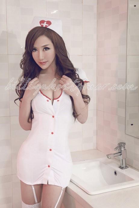 Sexiga förförisk vit Sjuksköterska Kostym
