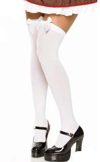 Vitt över knä strumpor med vit rosett