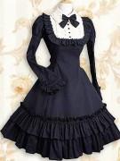 Djupblå långärmad rufsar klassiska lolita klänningar