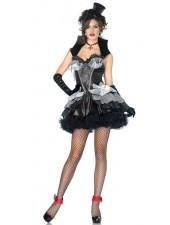 Halloween gotiska svart Vampyr Kostym