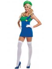 Super Mario Bros Grön Plumber Kostym Kvinnor