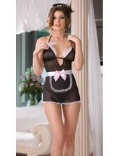 Slutty Sheer mesh franska Maid kostym
