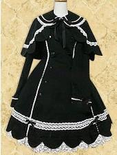 Svart axelryckning vit spets lång ärm Lolita Kappa