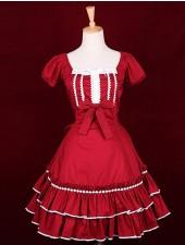 Röd square neck korta ärmar böja klassiska lolita klänningar