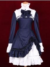 Vit marinblå står krage långa ärmar klassiska lolita klänningar