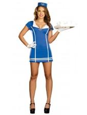 Sexig Blå Flygvärdinna Kostym