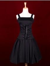 Svart front spets ärmar klassiska lolita klänningar