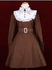 Kaffe står krage långa ärmar klassiska lolita klänningar