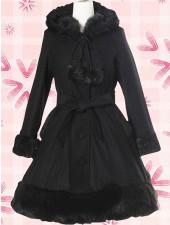 Elegant svart ull lång ärm Lolita Kappa