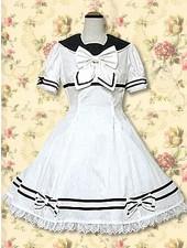 Vit spets rosett skolan loltia klänningar