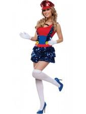 Bländande Röd Super Mario Och Luigi Dräkt Kvinna