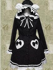 Öta svarta långa ärmar böja Lolita Kappa