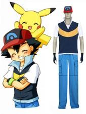 Pokemon Ash Ketchum Kungsblå Och Gul Cosplay Kostymer