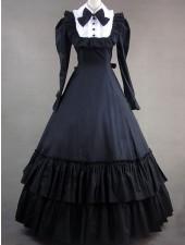Klassiska lolita viktorianska svart ruggig långa formella klänningar