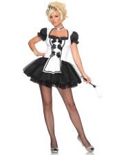 Svart älskarinna franska Maid kostym