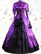 Gothic lolita aristokrat renässans lila långa klänningar