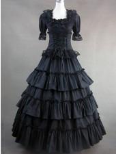 Gothic lolita viktorianska renässans svart långa klänningar