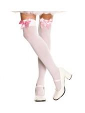 Vitt över knä strumpor med rosa rosett
