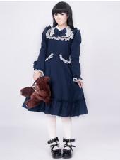 Djupblå spets rosett lång ärm klassiska lolita klänning