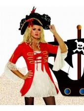 Röd Sexiga Kapten Piratkostym Vuxen