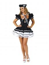 Sexiga Svart Sailor Kostym För Vuxna