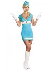 Sexiga Himmelsblå Flygvakt Flygvärdinna Kostym